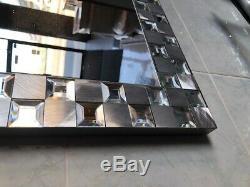 Bathroom Vanity Wall Mirror Steel Mosaic Rectangle Frameless 25X36 LARGE SILVER