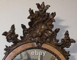 Beautiful Carved Antique French Provincial Rococo Large Wall Mirror Signed 1965