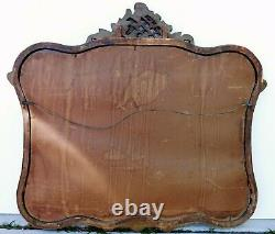 Beautiful Large Antique 37 Ornate Gold Wood & Gesso FLOWER Hanging Wall Mirror