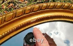 Beautiful Large Antique/Vtg 33 Ornate Gold Solid Wood Oval Hanging Wall Mirror