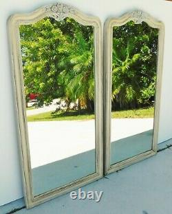 Beautiful Large PAIR Antique/Vtg 46 Wood Ivory & Light Blue FLOWER Wall Mirrors