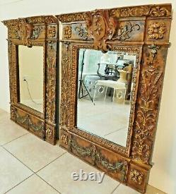 Beautiful Large PAIR Vintage 42 Ornate Decorative Hanging Beveled Wall Mirrors
