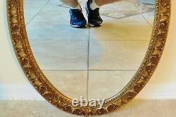 Beautiful Large Vintage 31 Ornate Oval Gold Hanging Wall Mirror