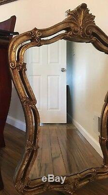 Beautiful Vintage Large Ornate Burnish Arch Wall Hanging Mirror Gold Leaf