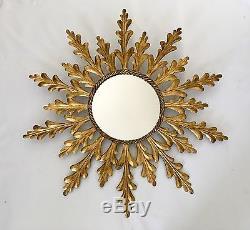 Beautiful Vintage Sunburst Italian Gold Gilt Metal Large 36 Wall Mirror Italy