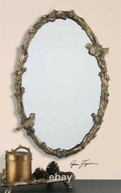 Bird on a Branch Gold Leaf Oval Wall Mirror Large 34 Songbirds French Country