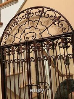Bombay Large Wall Mirror with Bronze Wrought Iron Grill and Fleur de Lis Accent