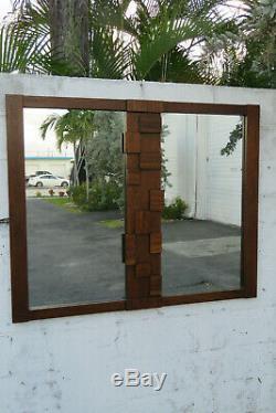 Brutalist Mid Century Modern Large Wall Bathroom Vanity Mirror by Lane 1017