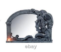 Chained Dragon Wall Mirror Home Sculpture Statue Ornament Decor
