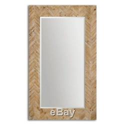 Chevron Pattern Oversized Large Wood Wall Floor Mirror XL 74