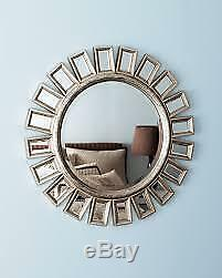 Chic Modern Silver Gold Sunburst Wall Mirror Large 34 Mantel Hall Entry Horchow
