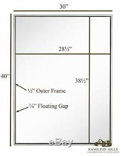 Clean Large Modern Polished Nickel Frame Wall Mirror Contemporary Premium S