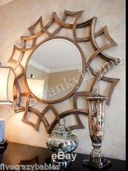 Contemporary 40 GEOMETRIC SUNBURST Wall Mirror Round Circular Modern Large
