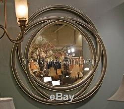 Contemporary Black Entwined Circles Round Wall Mirror Large 48 Modern Art Chic