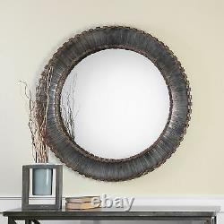 Contemporary Silver Bronze Metal Strips Round Wall Mirror Large 46 Industrial
