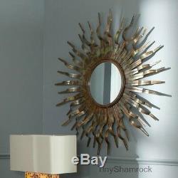 Copper Sun Wall Mirror Decorative Bronze Art Metal Sculpture Large Sunburst New