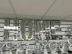 Crushed Glass Diamond LARGE HOME Letters Crushed Crystal Mirror Diamond Wall art