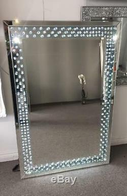 Crystal mirror with sparkling crystals & LED lighting large wall hanging mirror