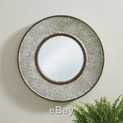 DISTRESSED RIBBED METAL MIRROR By SPLIT P/LARGE WALL MIRROR