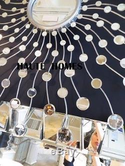 Designer Large 39 Sun Burst Star Burst Silver Modern Wall Mantel Bevel Mirror