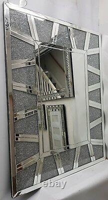 Diamond Crush Crystal Extra Large Silver Wall Mirror 120X90cm Sparkly