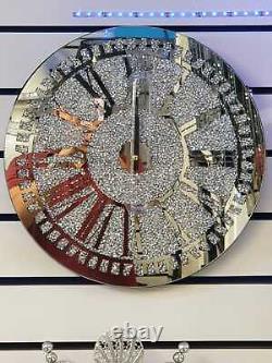 Diamond Crush Crystal Large Sparkly Mirrored Circle Wall Clock- SILVER 40x40x5cm