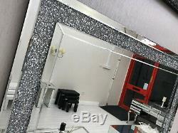 Diamond Crush Crystal Large Sparkly Silver Wall Mirror 120X80cm