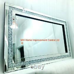 Diamond Crush Crystal Large Sparkly Silver Wall Mirror 120X80cm Hallway FLAWED