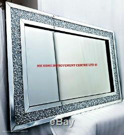 Diamond Crush Crystal Large Sparkly Silver Wall Mirror 120X80cm Living Room