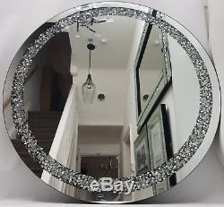 Diamond Crush Diamante Crystal Effect Large Silver Round Wall Mirror Bling
