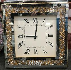 Diamond Crush Gold Crystal Large Sparkly Mirrored Square Wall Clock 46x46x5cm