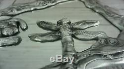 Don Drumm Large Mirror Wall Hanging Frog Dragonfly Flowers 17 x 12 Akron Ohio