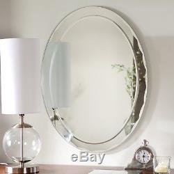 Elegant Glass Oval Wall Mirror Large Frameless Decorative Bathroom Home Decor