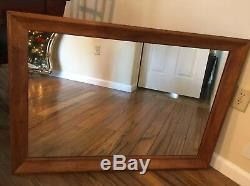 Ethan Allen Mid Century Style Large Rectangular Wood Hanging Wall Mirror