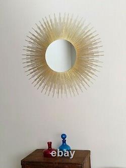Extra Large 36 Glamorous Gold Sunburst Mirror Mid Century Wall Art Home Decor