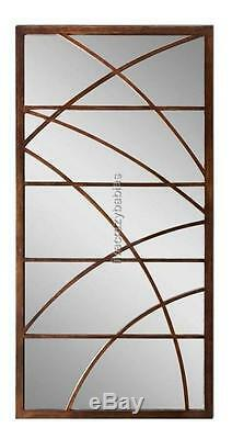 Extra Large 60 GEOMETRIC OVERLAY Bronze Wall Mirror Oversize Floor Leaner Metal