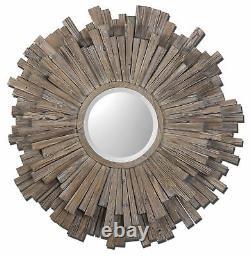Extra Large Driftwood Sunburst Wall Mirror 43 Oversize Rustic Wood Strips