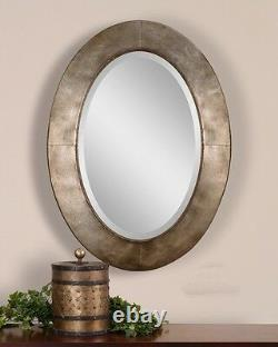 Extra Large Silver Oval Wall Mirror XL Vanity Contemporary Modern Metal Designer