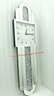 Extra Large Wall Clock Sparkly Silver Mirrored Diamond Crush Crystal Tall Long