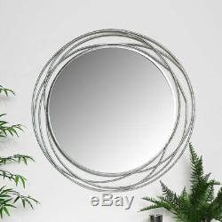Extra large round silver wall mirror swirl ornate frame vintage chic living room