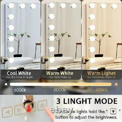 FENCHILIN Large Hollywood Makeup Vanity Mirror Bluetooth LED Lighted Wall Table