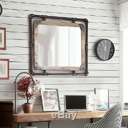 Farmhouse Wall Mirror Large Industrial Vintage Wood Pipe Frame Rustic Vanity