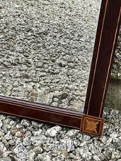 Fine Large Edwardian Bevelled Wall Mirror With An Inlaid Mahogany Frame. 30
