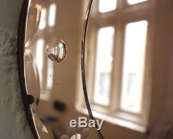 Frameless Antique Copper Art Deco Wall Mirror 1920s Vintage Extra Large Bevelled