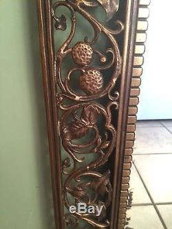 French Art Nouveau Gothic Grotesque Gilded Bronze Brass LARGE 40 Wall Mirror