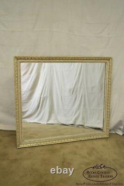 French Louis XV Style Large Partial Gilt Rectangular Vintage Wall Mirror