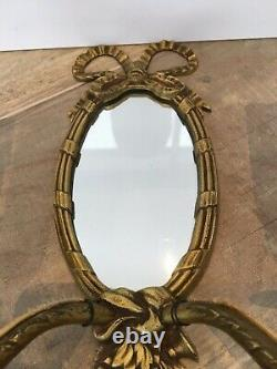 French Rococo Style Ormolu Mirror Double Light Wall Sconce vintage chateau