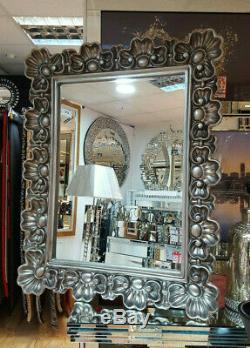 French Traditional Ornate Silver Large Wall Mirror Bevelled Floral 128x120cm