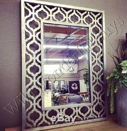 Fretwork Cut Metal Wall Mirror Antique Silver 40H Moroccan Geometric Large New