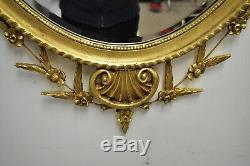 Friedman Brothers Large Oval Adams Style Gold Gilt Wood Wall Mirror